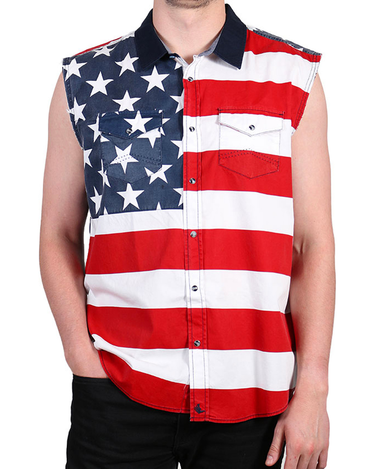 c9d1f288b53f80 Cody James Men s American Flag Sleeveless Shirt