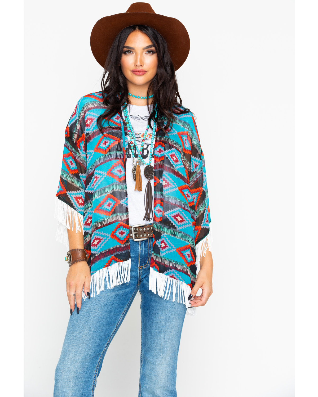 e2e80c135d9 Rock   Roll Cowgirl Women s Aztec Print Fringe Kimono