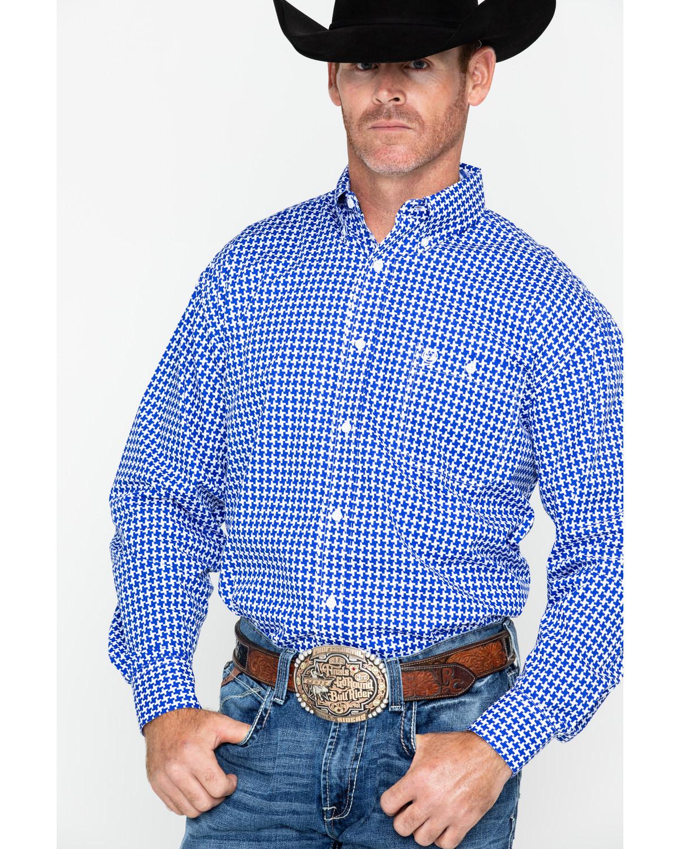 8abe23517 Zoomed Image George Strait by Wrangler Men's Large Geo Print Long Sleeve Western  Shirt , Blue/white