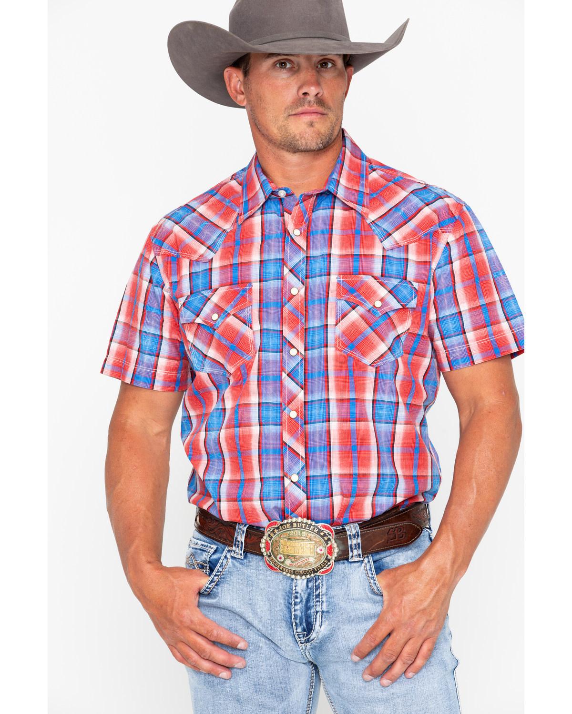 de3e3a6570fc2 Rock   Roll Cowboy Men s Crinkle Poplin Plaid Short Sleeve Western Shirt