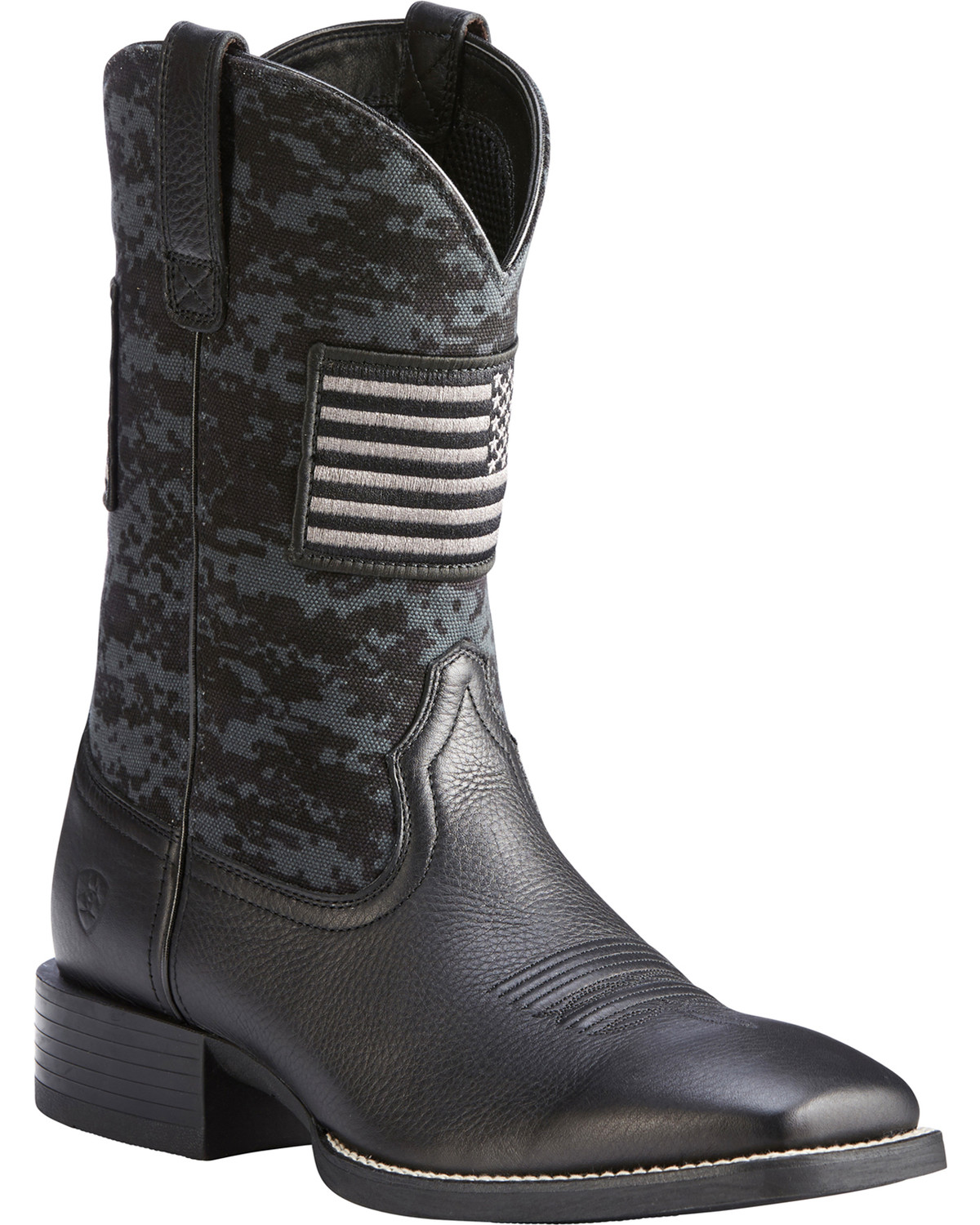 89a80152eb81b Zoomed Image Ariat Men's Black Camo Sport Patriot Western Boots - Square  Toe , Black, hi-