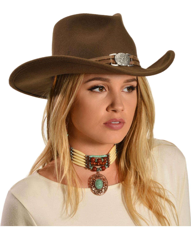 Juniper Brown Wool Felt Cowgirl Hat  15e8d751300