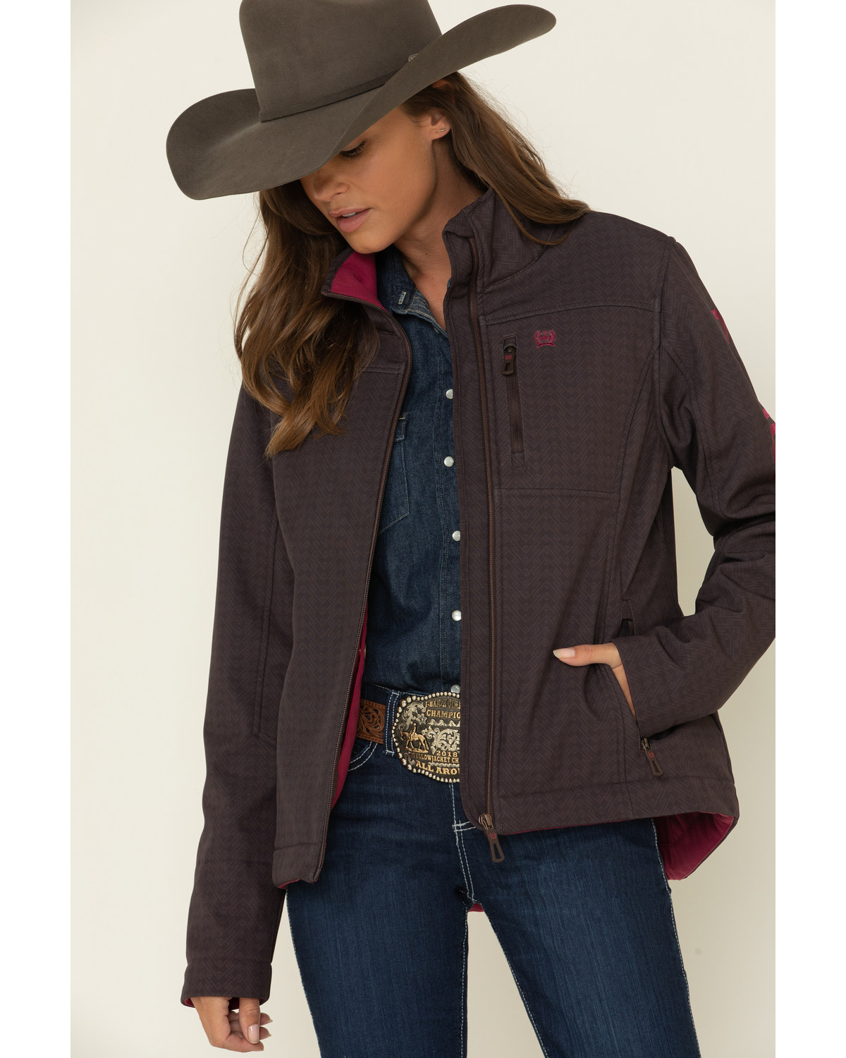 Cinch Womens Concealed Carry Brown Houndstooth Printed Softshell Jacket