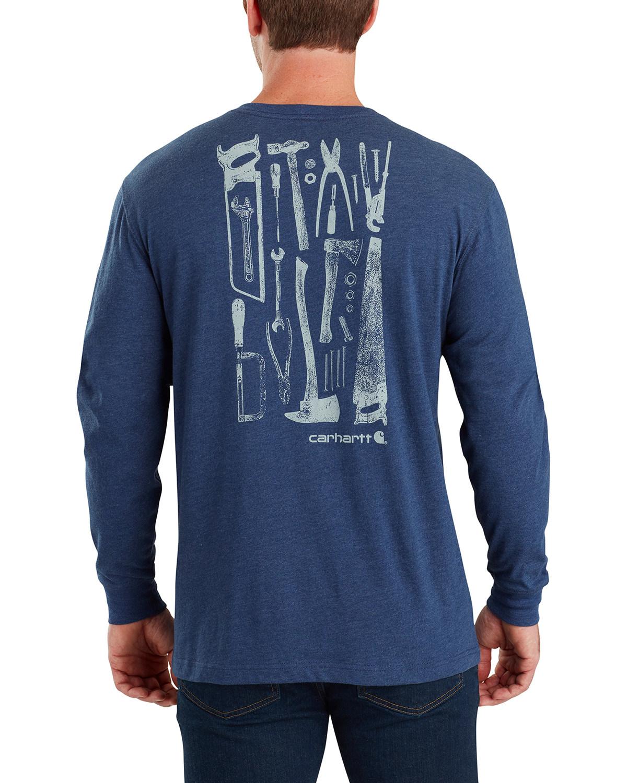4953b8738 Zoomed Image Carhartt Men's Maddock Tool Graphic Long-Sleeve T-Shirt - Big,  Indigo,