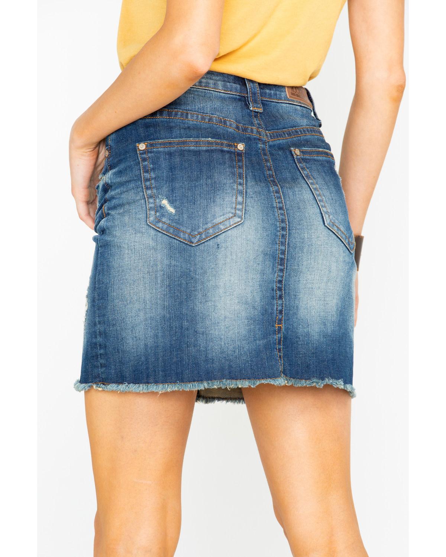 Rock Roll Cowgirl Womens Lowrise Denim Skirt Boot Barn