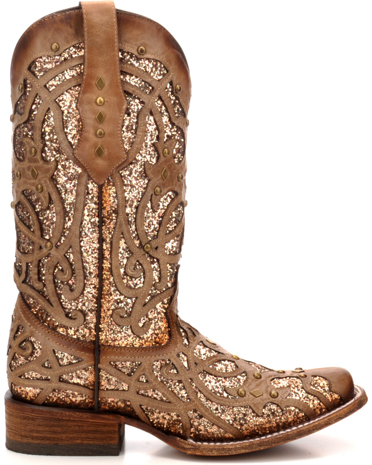 Corral Women S Orix Glitter Inlay Studded Cowgirl Boots Square