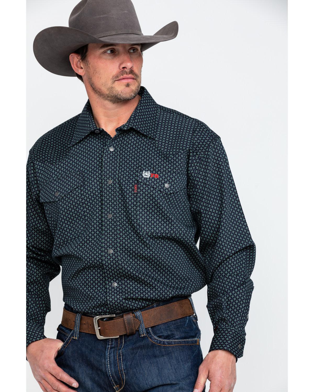 76920bbe2e22 Zoomed Image Cinch Men's FR Geo Print Long Sleeve Work Shirt , Black, ...