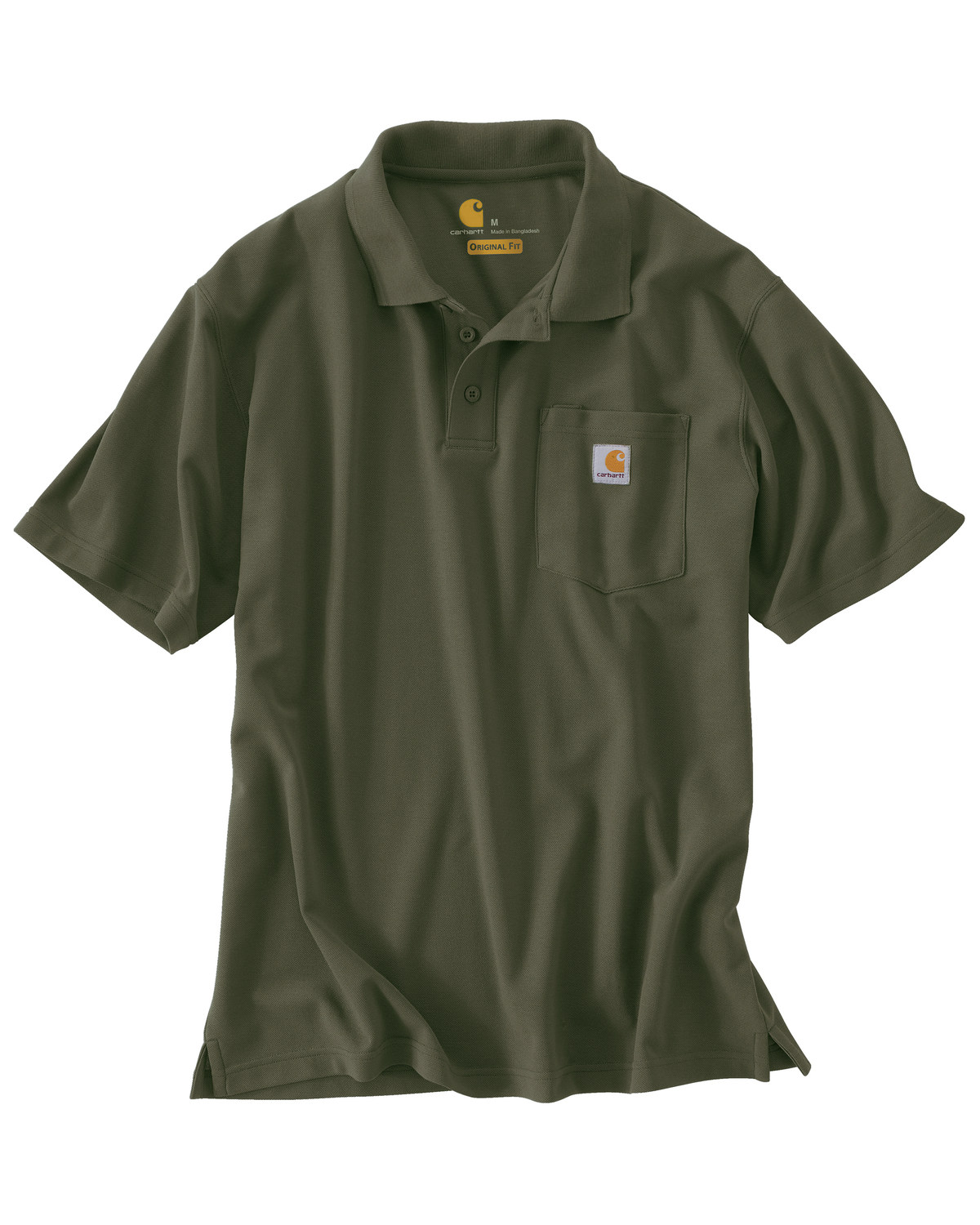 35503abb Zoomed Image Carhartt Contractor's Work Pocket Polo Shirt, Moss, ...