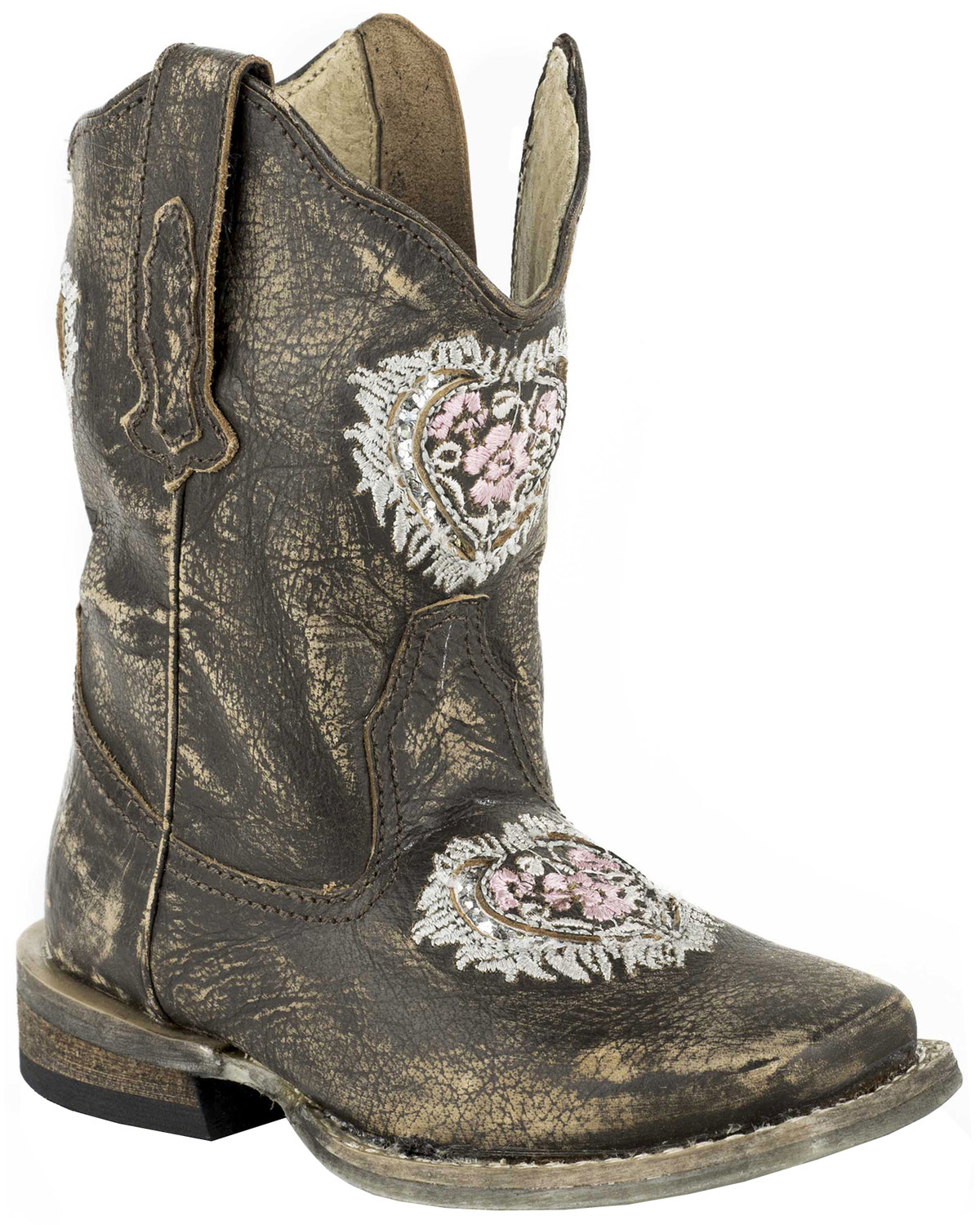 2cef46049b6 Roper Toddler Girls' Destiny Floral Heart Inside Zip Cowgirl Boots - Square  Toe