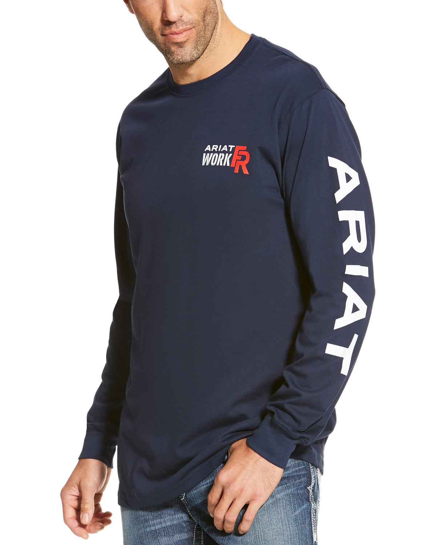 1ef28aa8 Ariat Men's Navy FR Logo Crew Neck Long Sleeve Shirt - Tall