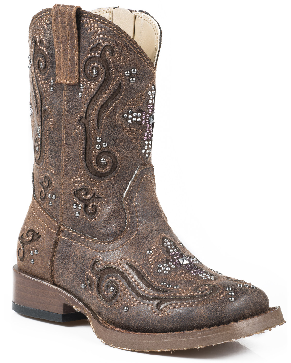 baa7c5308ae Roper Toddler Girls' Pink Crystal Cross Inlay Cowgirl Boots - Square Toe