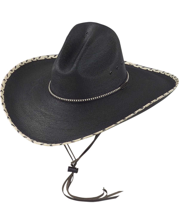 a06459cc6c73d Larry Mahan Black 30X Pancho Gus Palm Straw Western Hat