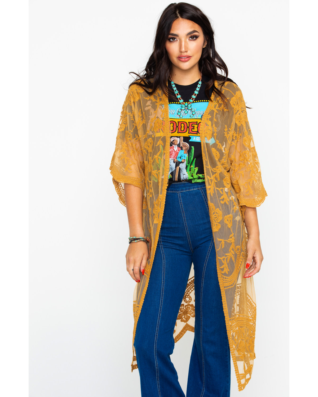 7923a3ed972 Polagram Women's Mustard Lace Long Kimono
