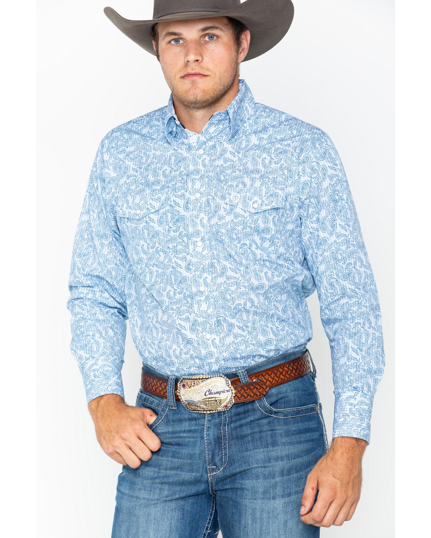 f61857453 Zoomed Image George Strait by Wrangler Men's Blue Paisley Print Long Sleeve Western  Shirt , Blue, hi