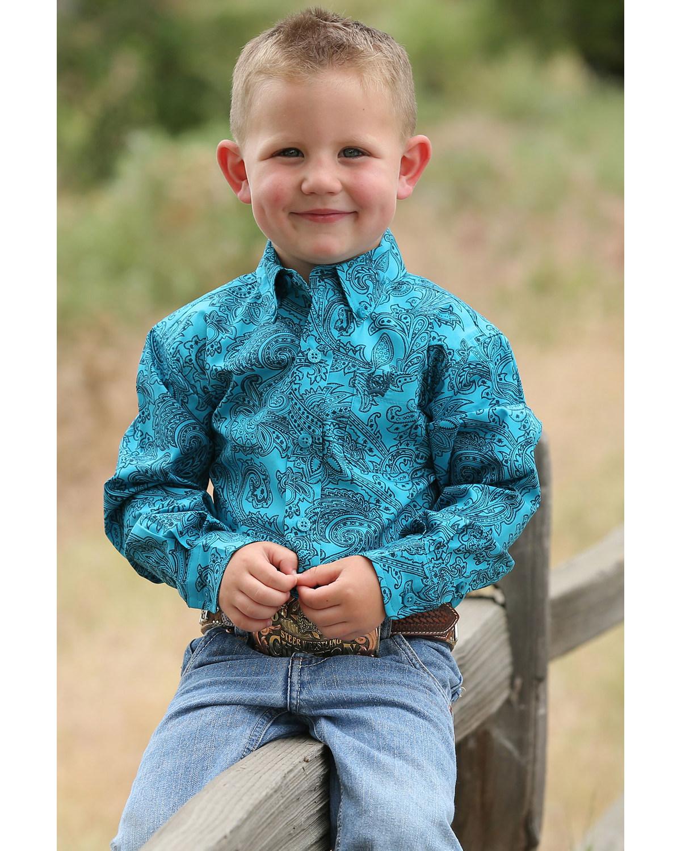 419b110cc Zoomed Image Cinch Infant Boys' Teal Paisley Print Button Long Sleeve  Western Shirt , Teal, hi