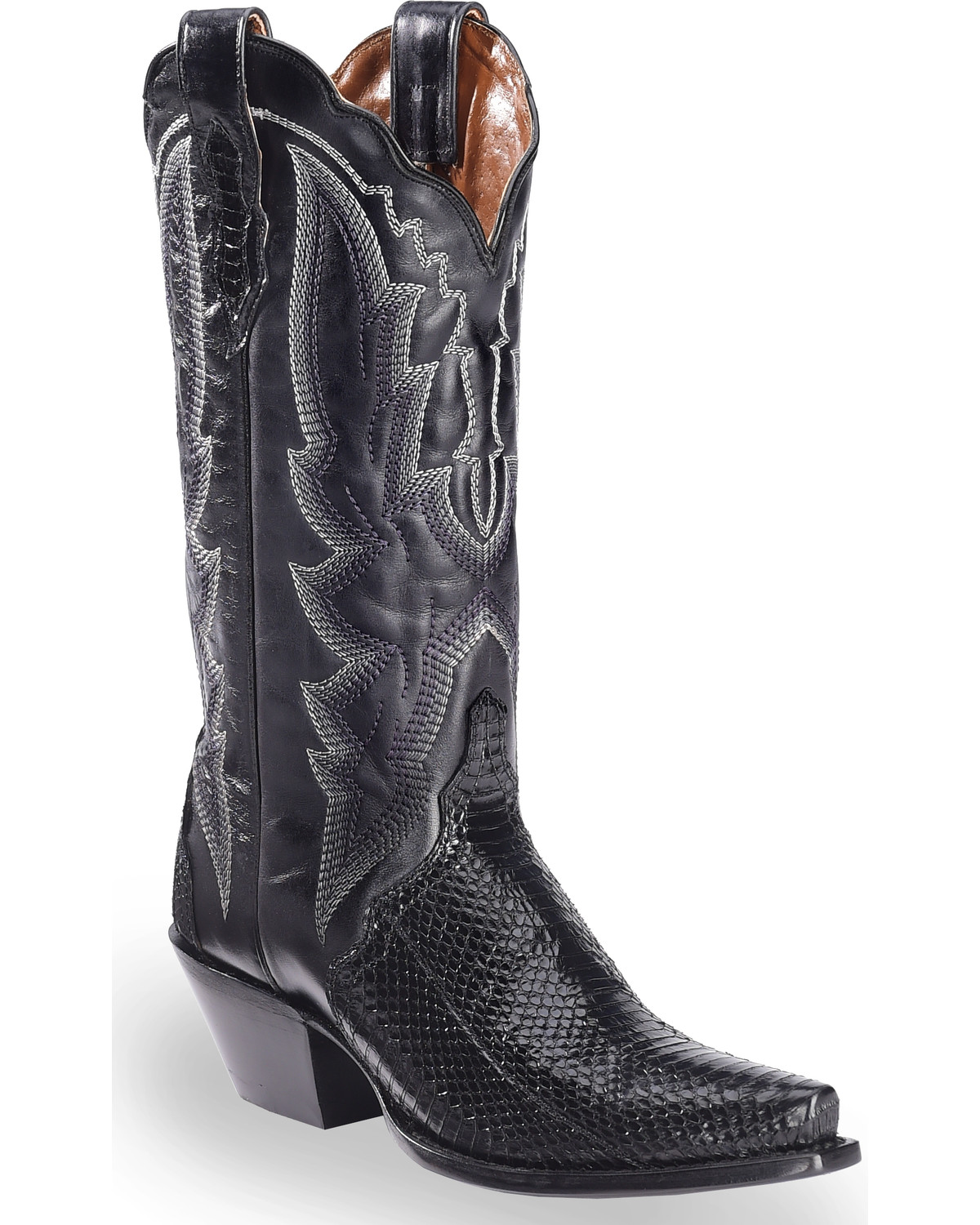 f97ac718a0f Dan Post Women's Black Water Snake Triad Cowgirl Boots - Snip Toe