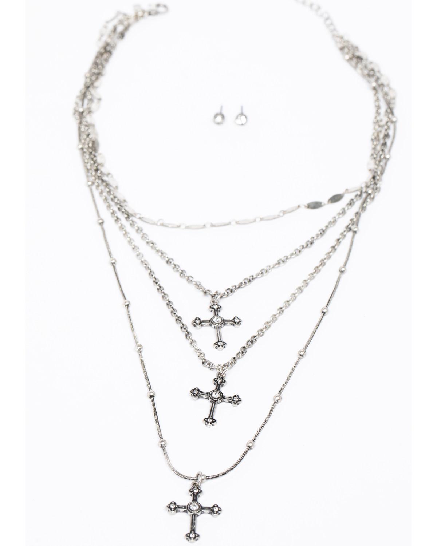 05262dcca265 Shyanne Women s Crystal Cross Triple Layered Cross Necklace Set ...
