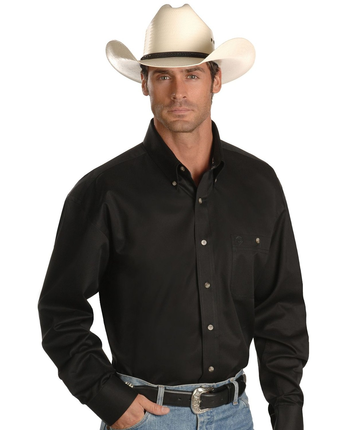 451d853b Zoomed Image George Strait by Wrangler Men's Long Sleeve Western Shirt,  Black, ...