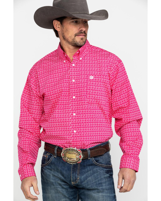 ef9275cd90 Cinch Men's Pink Geo Print Long Sleeve Western Shirt