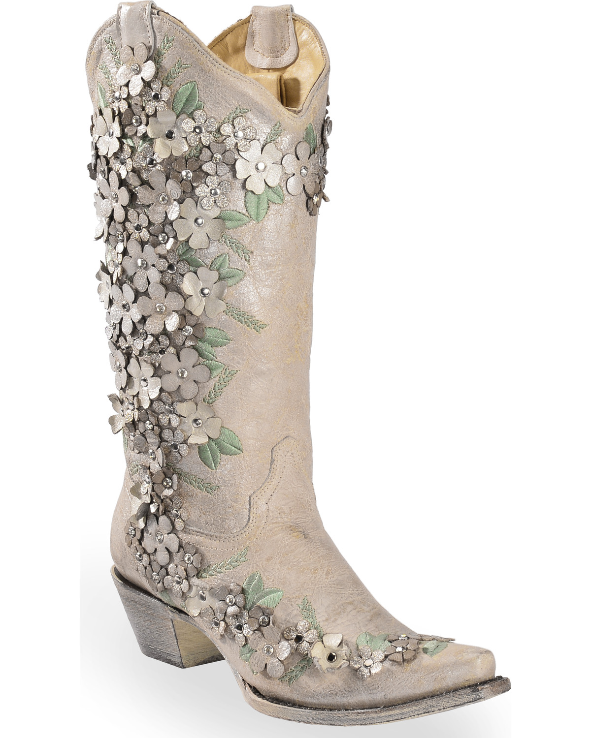 5d7ab709aae Corral Women s White Floral Overlay Embroidered Stud and Crystals Cowgirl  Boots - Snip Toe