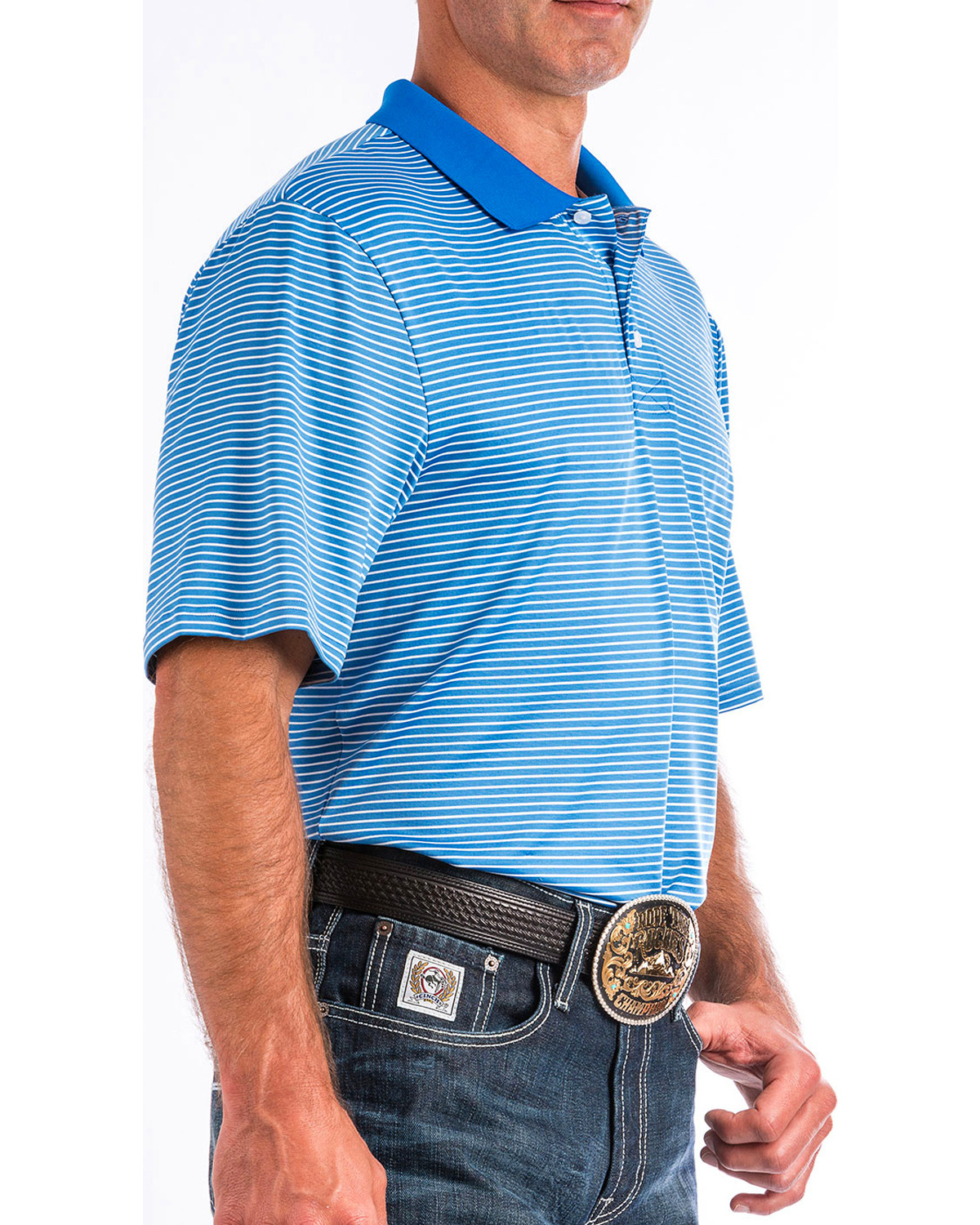 53cc7e336fb Cinch mens arenaflex blue striped athletic polo blue hi res JPG 1200x1500 Arenaflex  cinch athletic logo