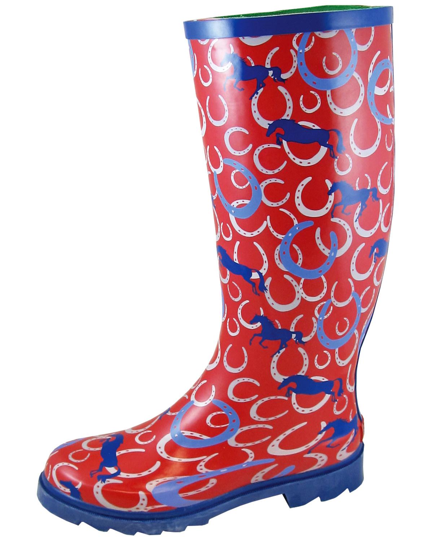 831f27fea77 Smoky Mountain Women's Horseshoe Rubber Rain Boots - Round Toe