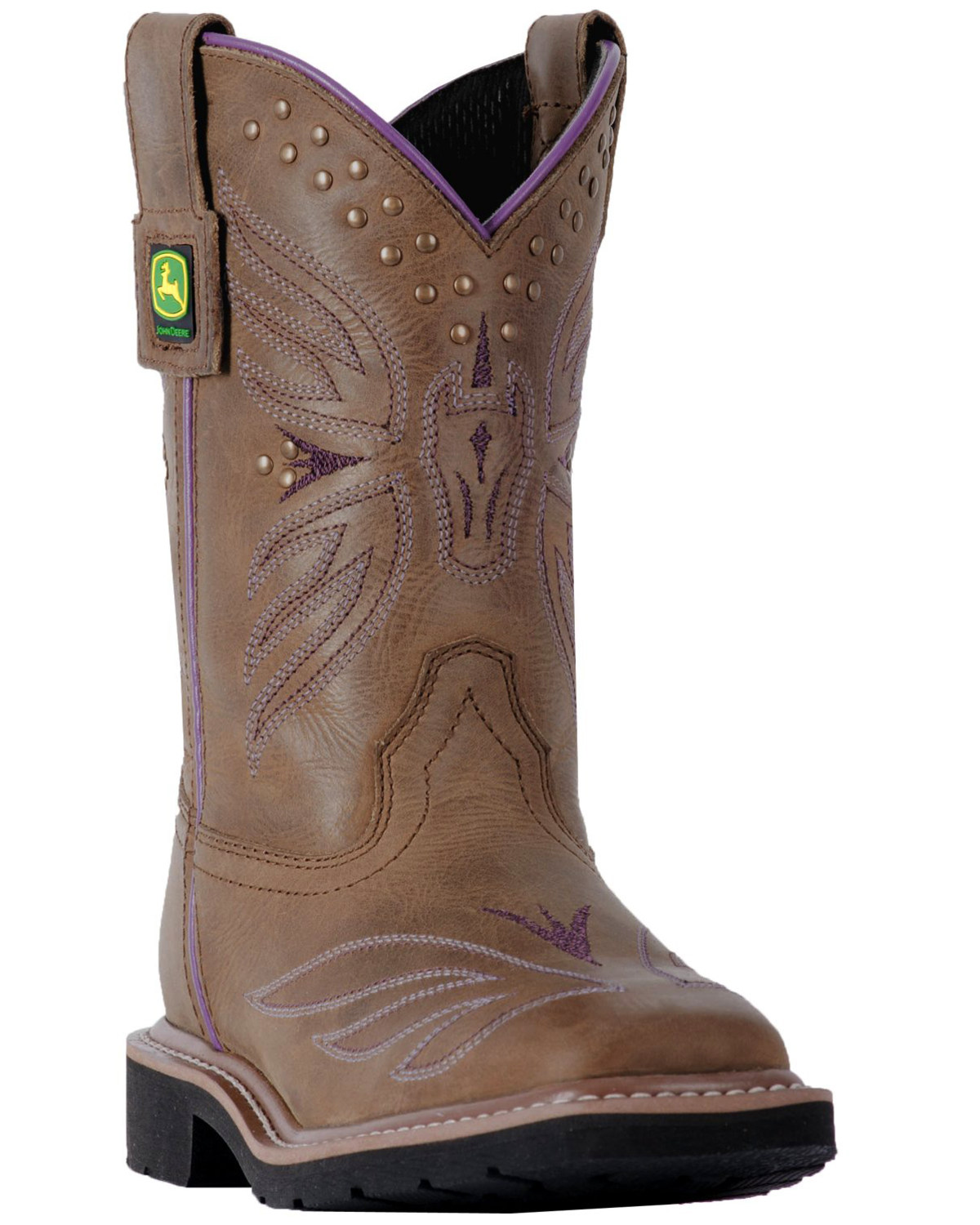 a84da4b06 Zoomed Image John Deere Youth Girls' Johnny Popper Western Boots - Square  Toe, Brown, hi