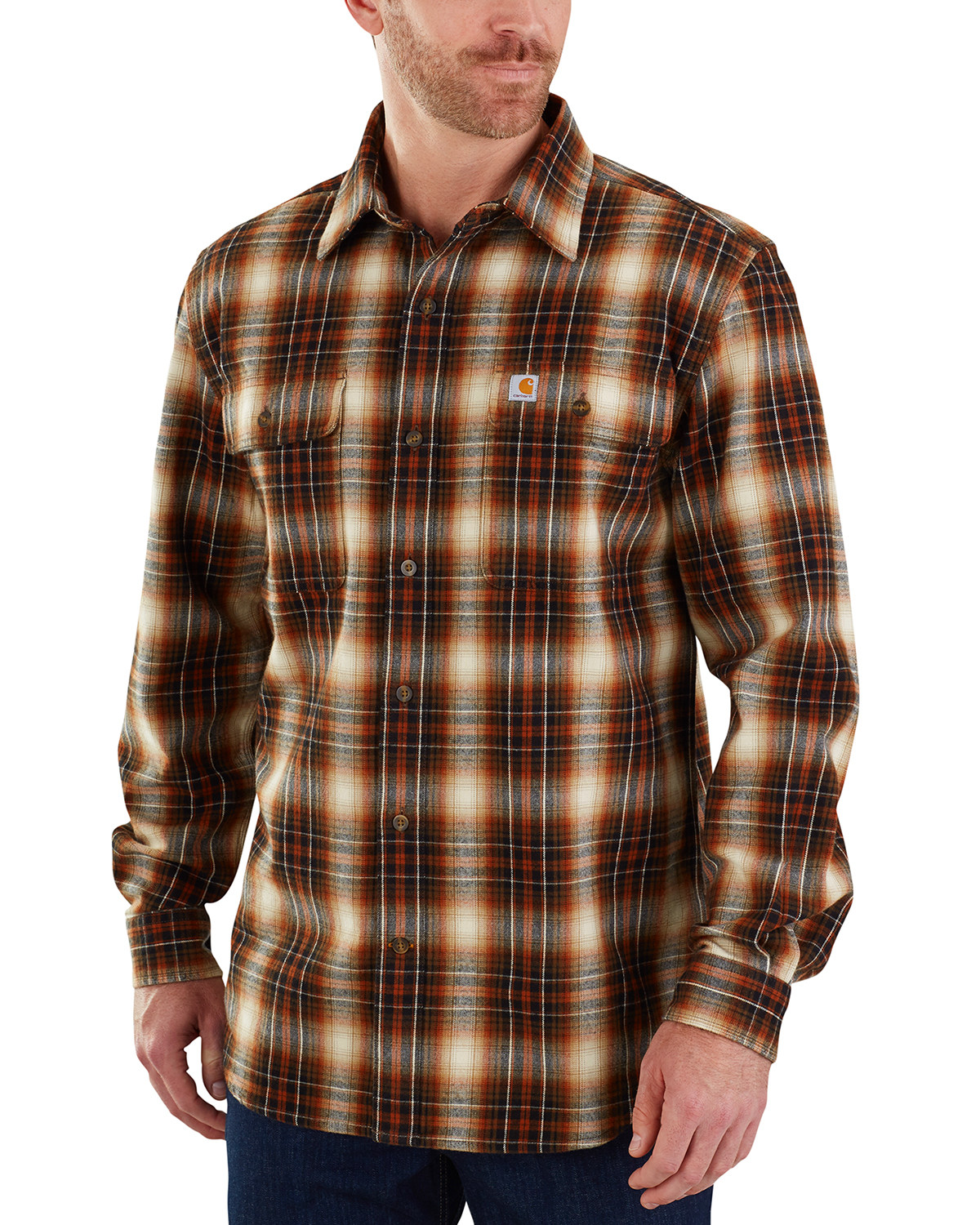 good looking famous brand new authentic Carhartt Men's Hubbard Long Sleeve Plaid Flannel Work Shirt - Big & Tall