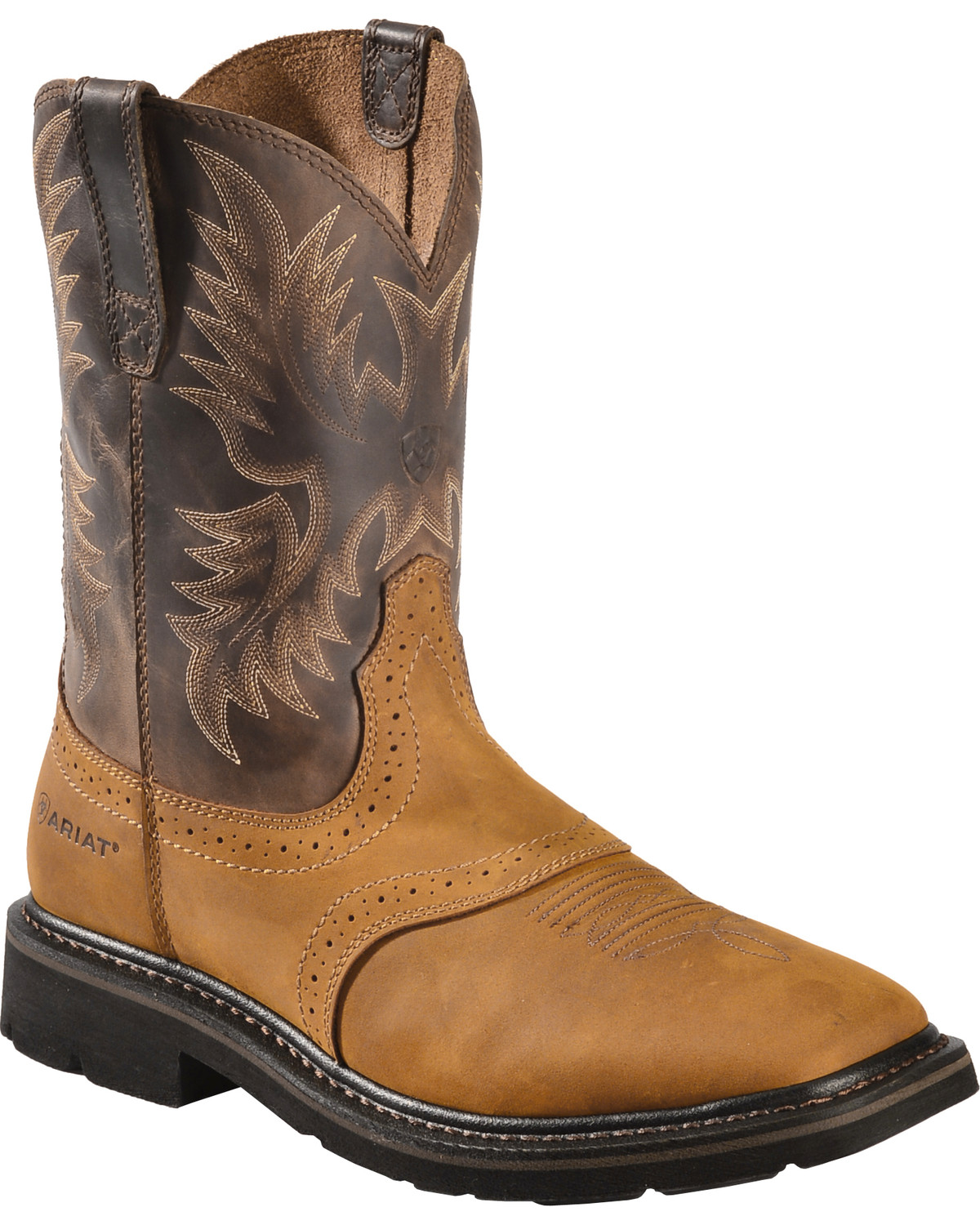 Ariat Sierra Pull,On Western Work Boots , Square Toe