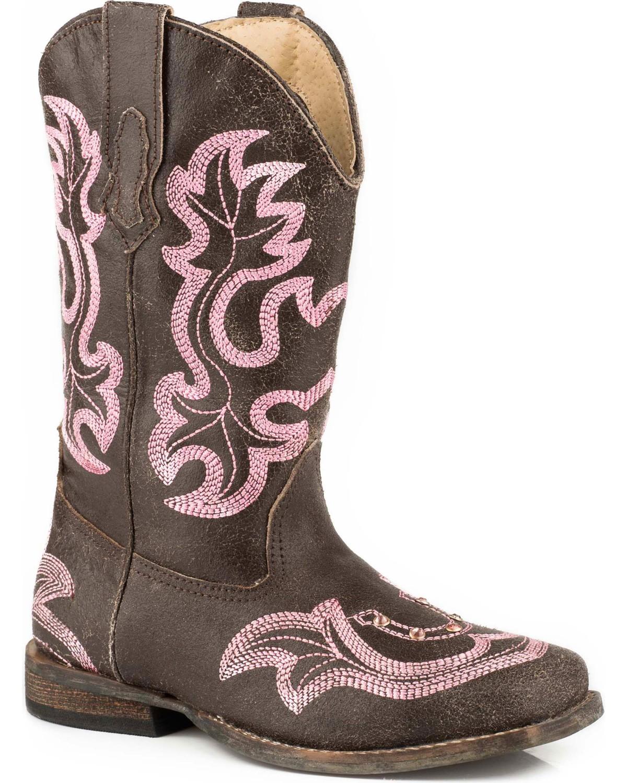 a7017ec62e2 Roper Girls' Rhinestone Horseshoe Cowgirl Boots - Square Toe