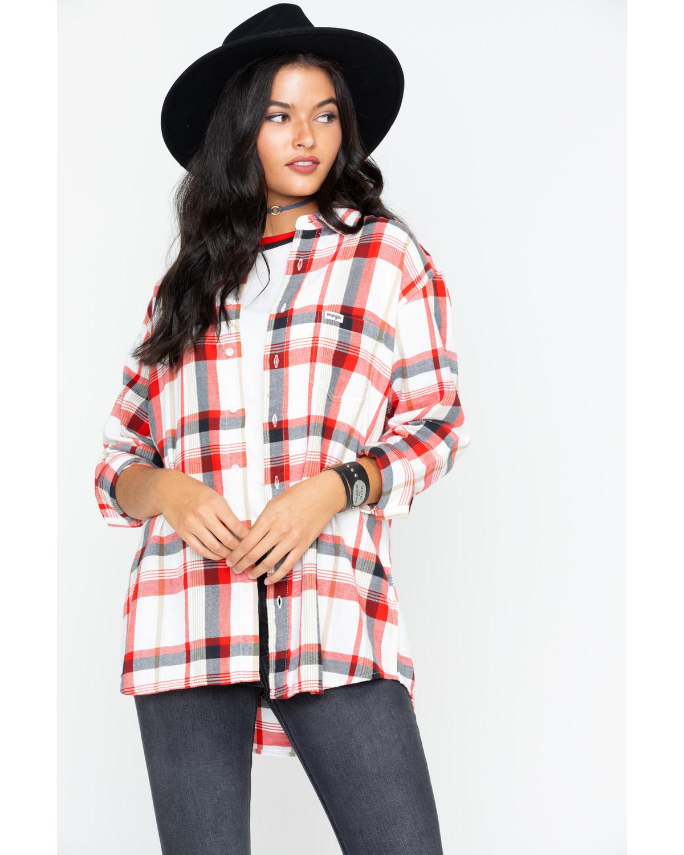 69191591954 Wrangler Women s Modern Born Ready Boyfriend Fit Plaid Flannel Shirt ...