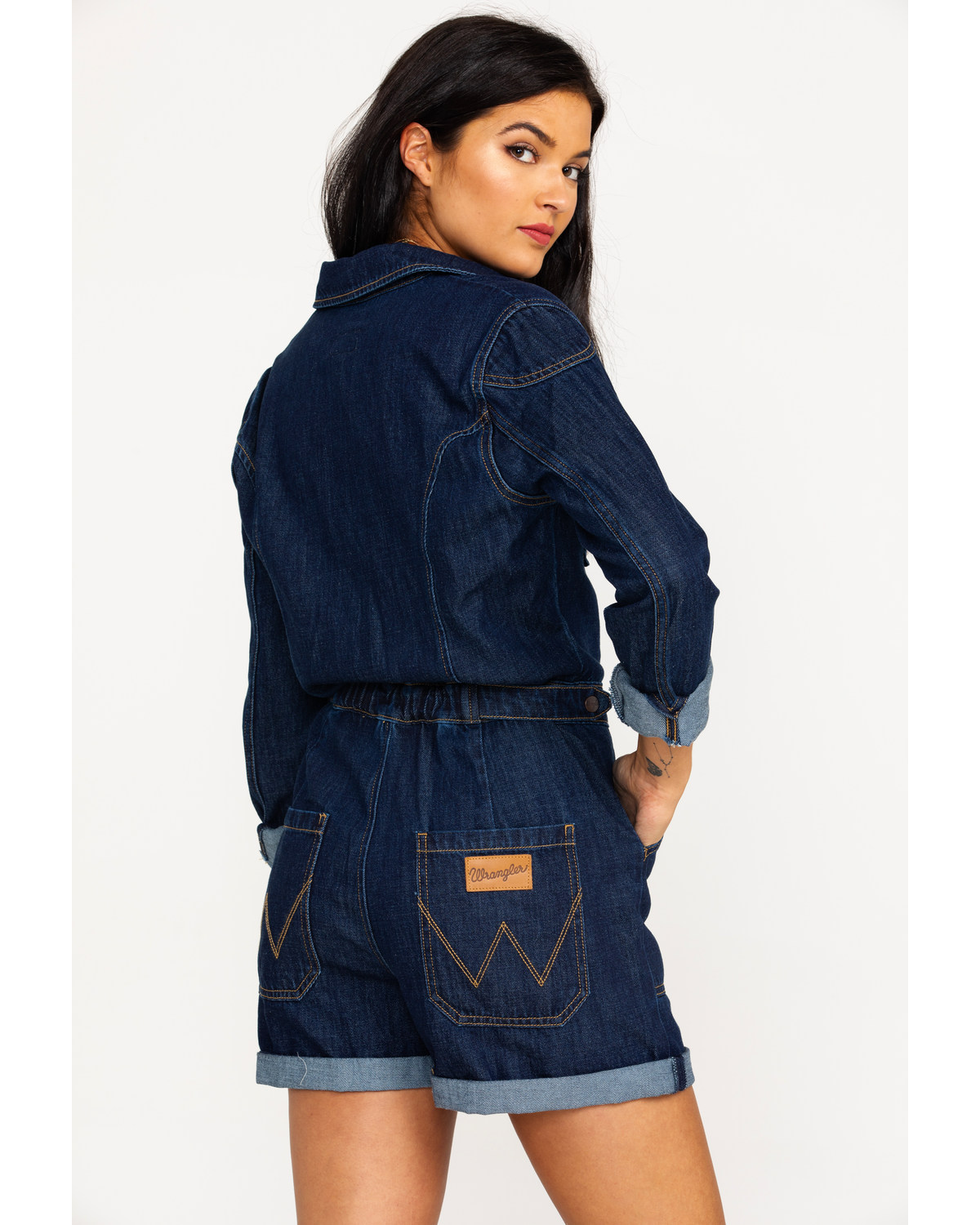 b9936318f2c Wrangler Women s Modern Denim Playsuit Long Sleeve Romper