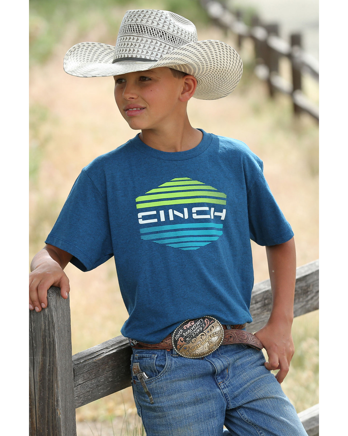 4ed7f8f8 Zoomed Image Cinch Boys' Striped Logo Graphic T-Shirt , Blue, hi-res