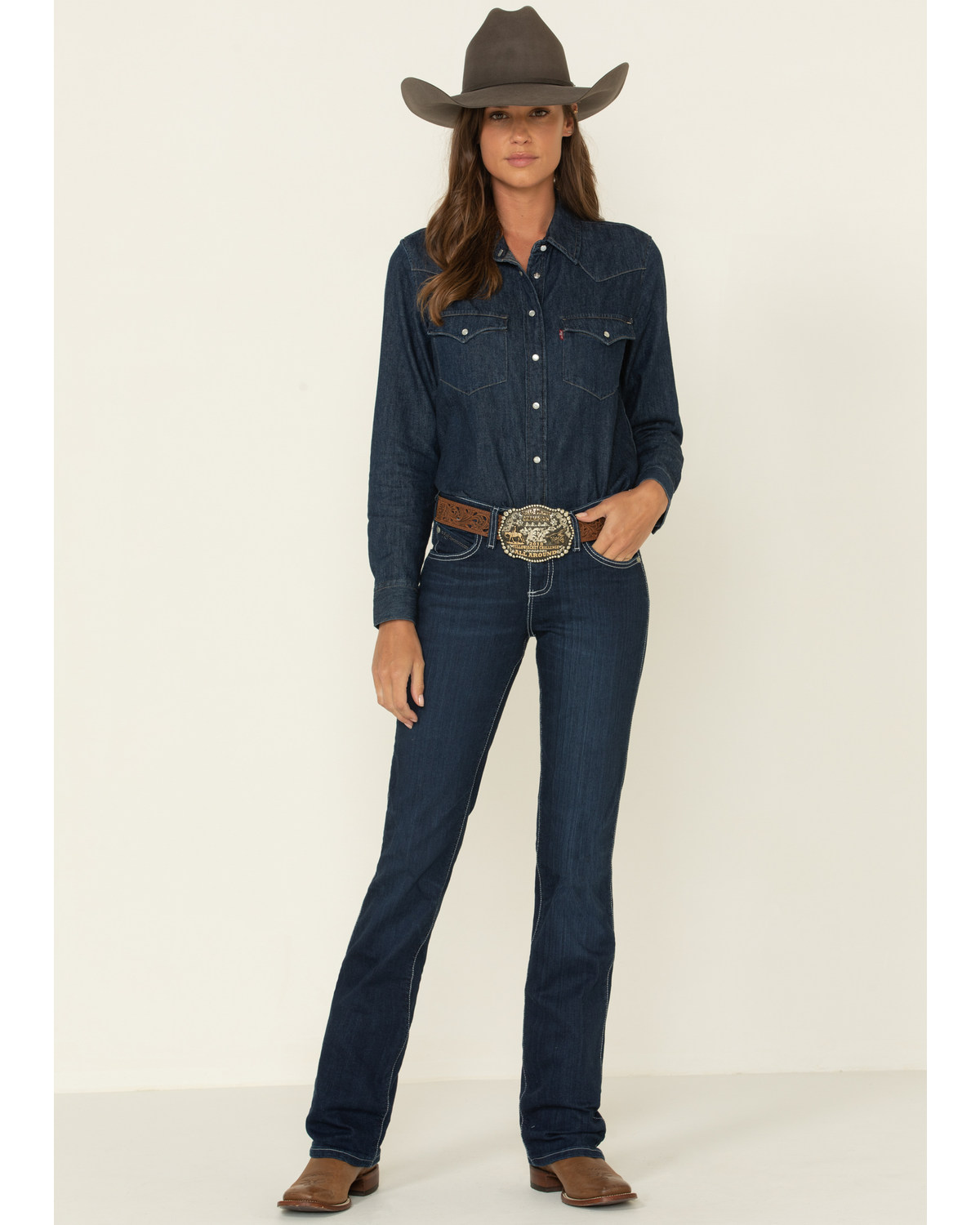 b3dee1a70ce0f8 Zoomed Image Wrangler Women's Q-Baby Booty Up Riding Jeans, Denim, ...