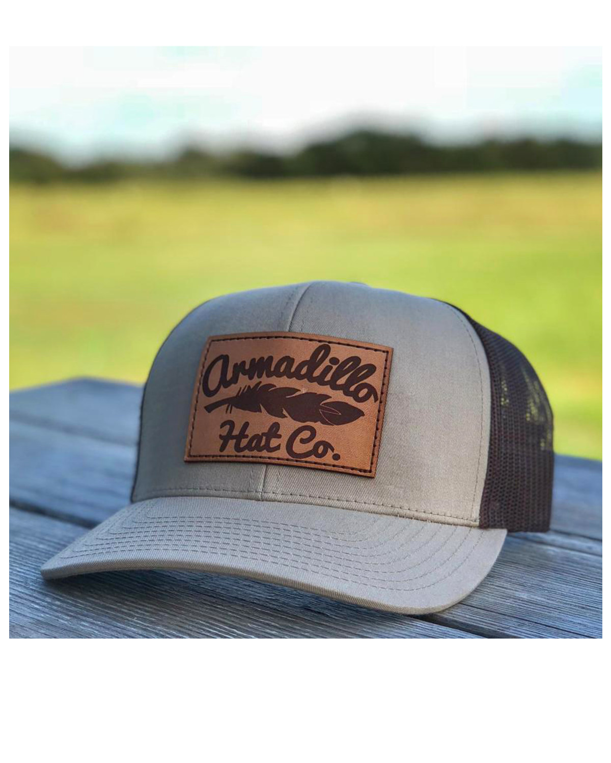 Armadillo Hat Co. Men s Eastwood Leather Patch Trucker Cap  340fa922a26