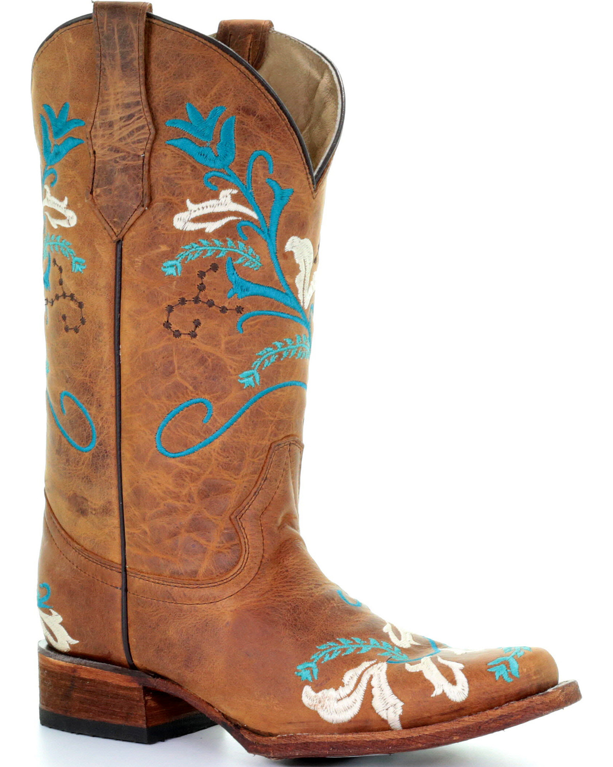 d66264ef6 Zoomed Image Circle G Women's Turquoise Embroidered Cowgirl Boots - Square  Toe, Tan, ...