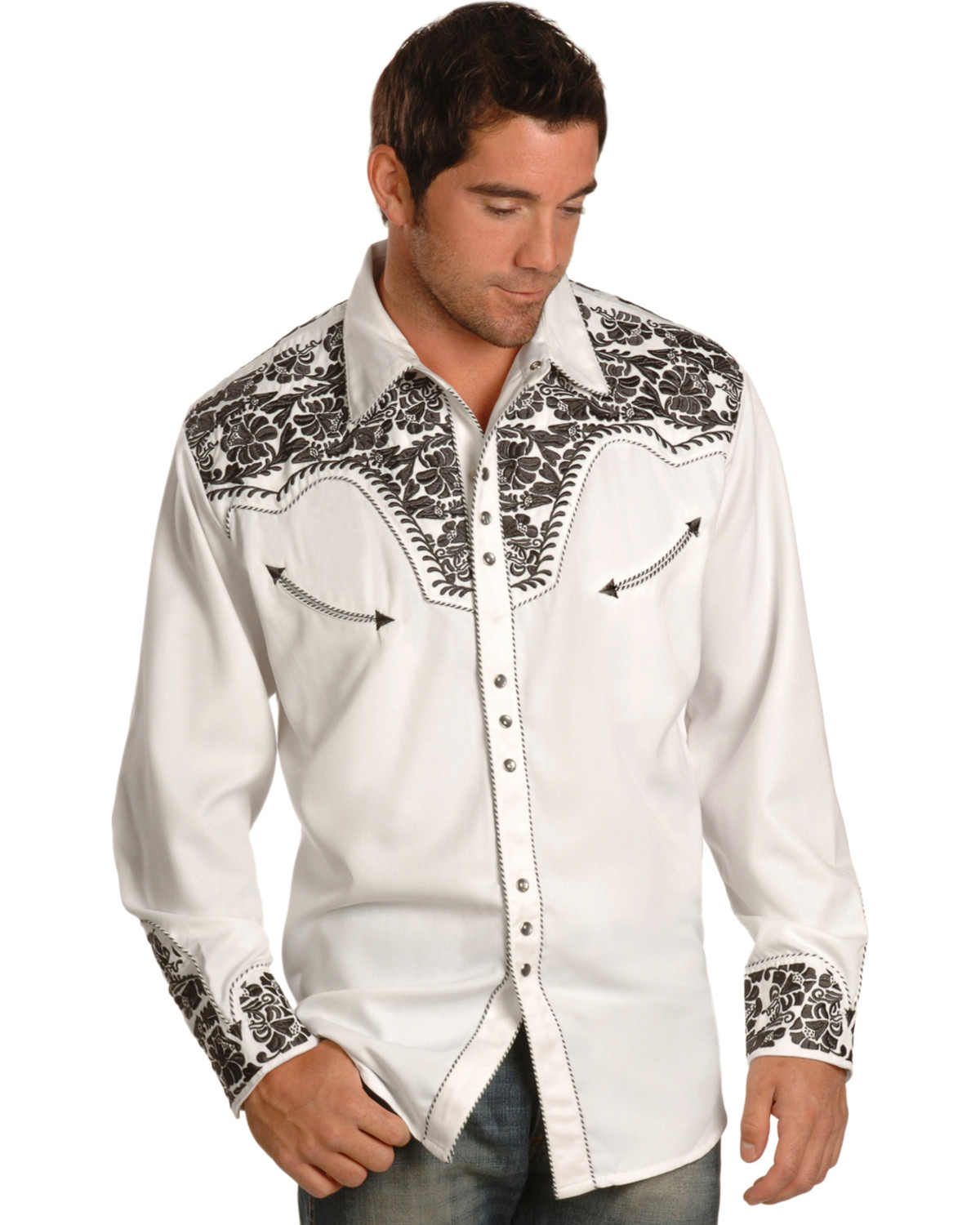 Scully Mens Pewter Embroidered Gunfighter Shirt Boot Barn