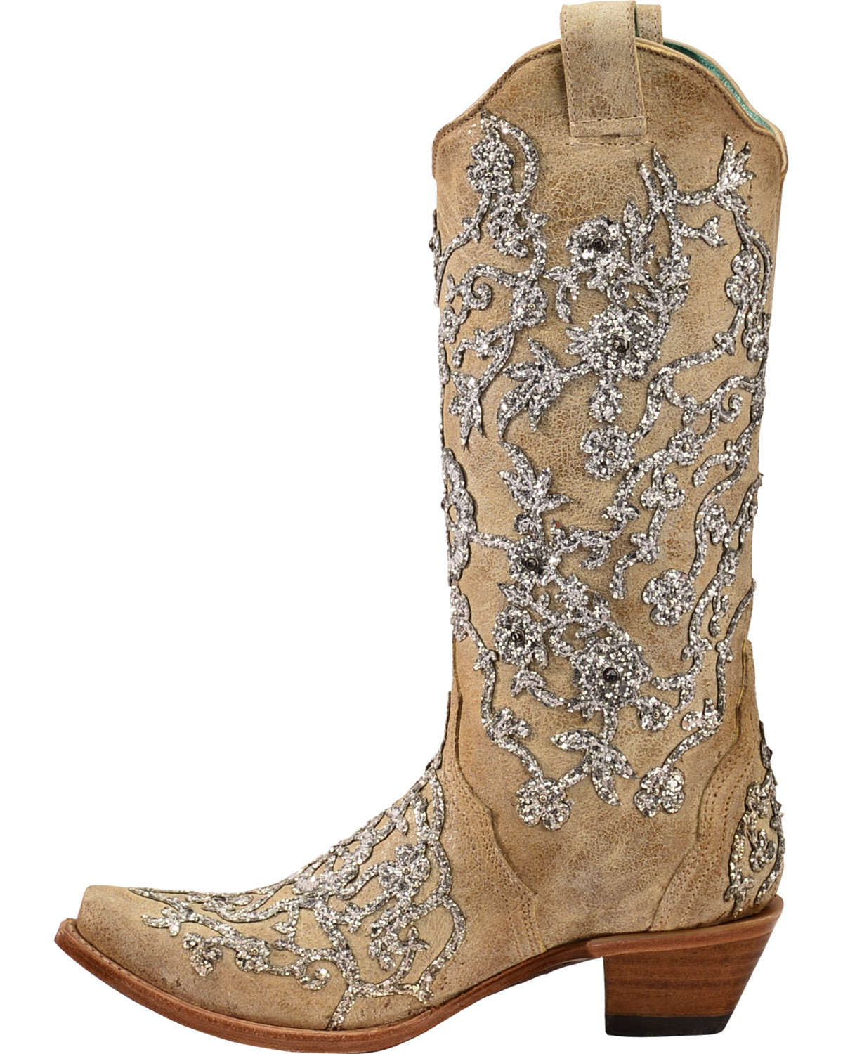 Corral Women S Bone Glitter Overlay Embroidery Amp Crystals