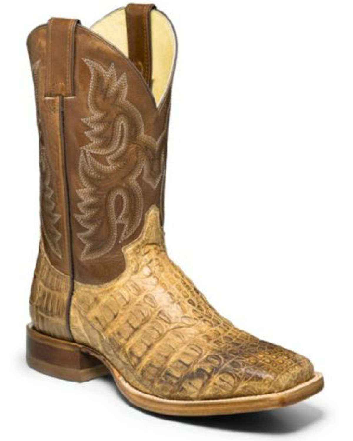634734cf5d2 Justin Men's Desert Caiman Leather Western Boots - Wide Square Toe
