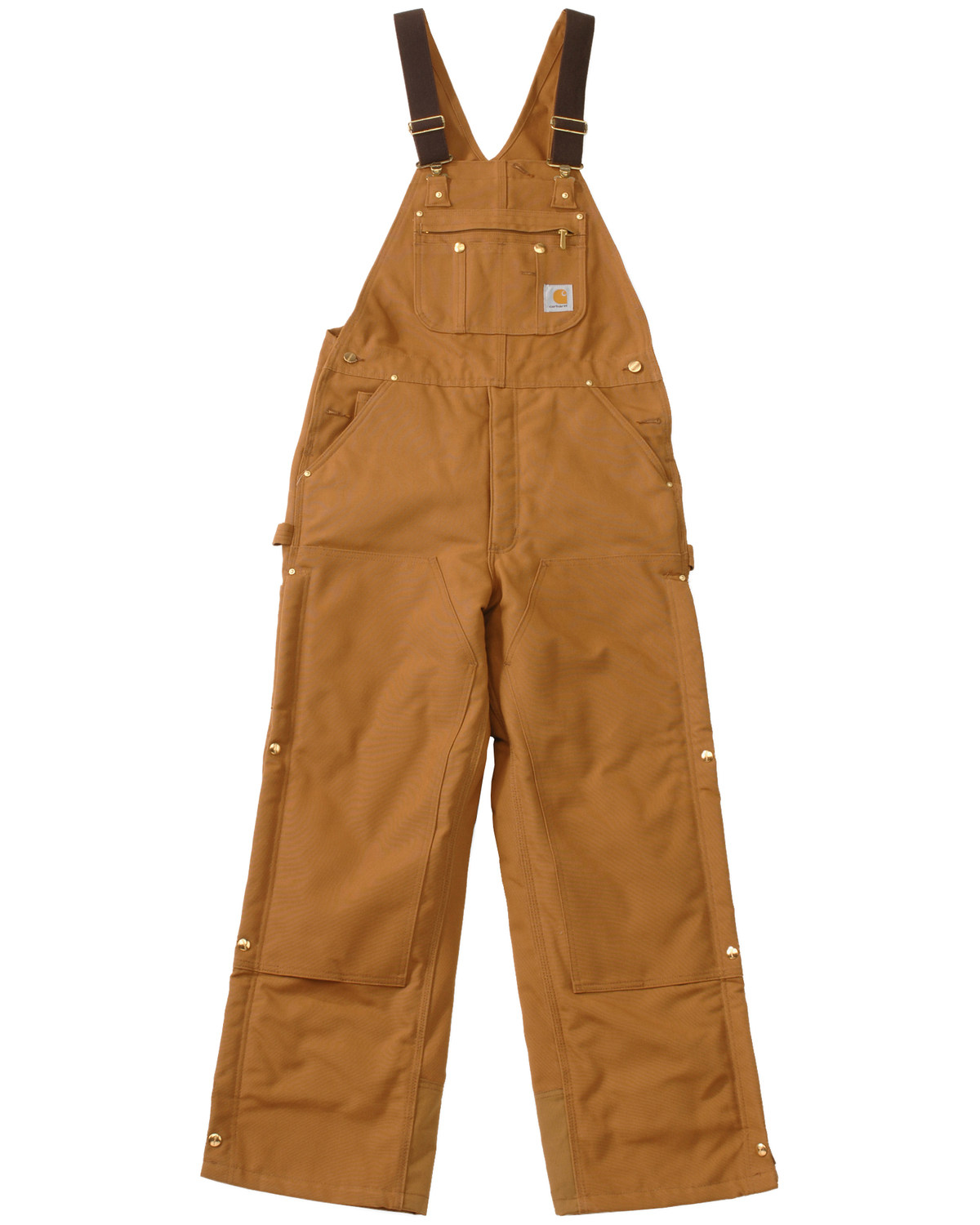 e539fba0eb Zoomed Image Carhartt Men's Duck Zip-To-Thigh Quilt Lined Bib Overall,  Brown, hi