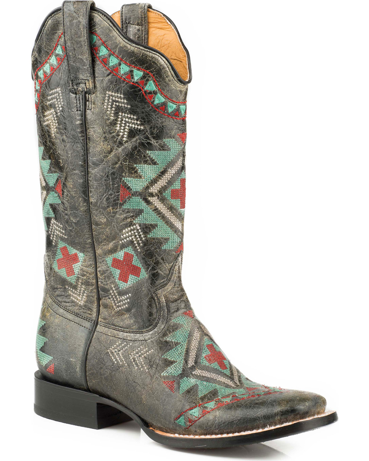 ROPER Girls Out West Aztec Embroidered Cowgirl Boot Square Toe