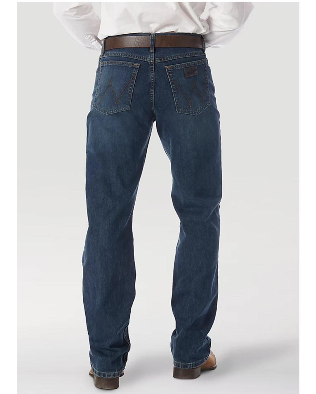 Wrangler 20x Mens Competition River Wash Boot Cut Jeans Barn Black Blue Vintage Hi Res