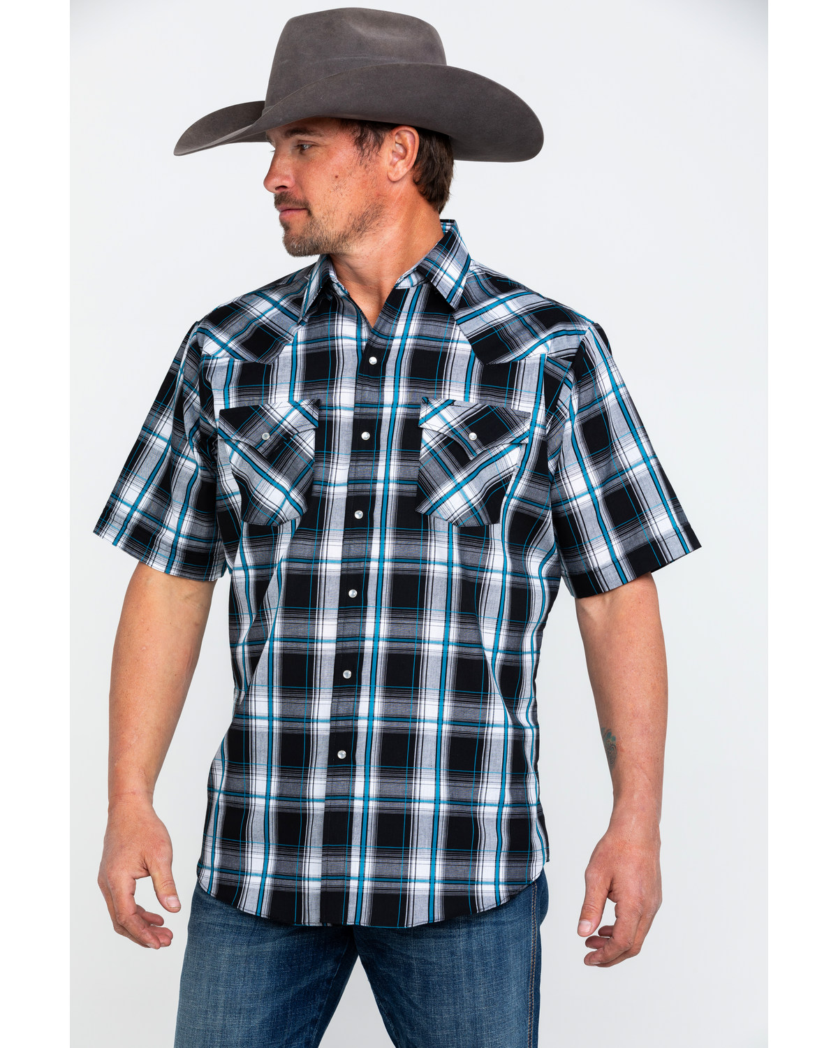 efb4a25e42f17 Mens Short Sleeve Plaid Western Shirts - DREAMWORKS