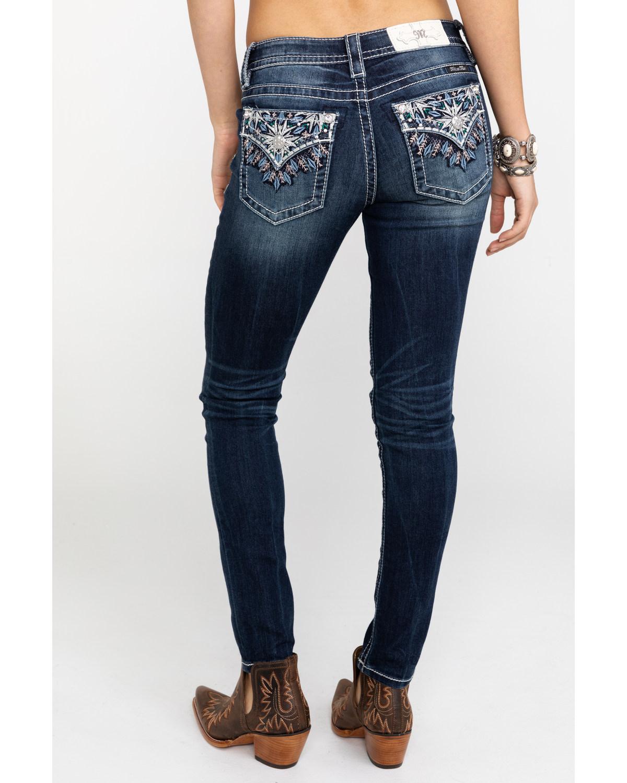 Miss Me Women s Flap Stars Dark Skinny Jeans  0ba3fa9e7