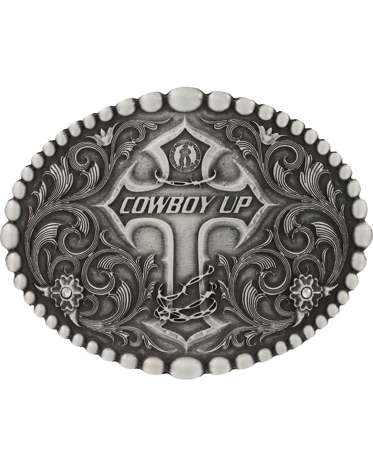 90304aa90 Zoomed Image Montana Silversmiths Classic Oval Beaded Trim Cowboy Up  Attitude Belt Buckle