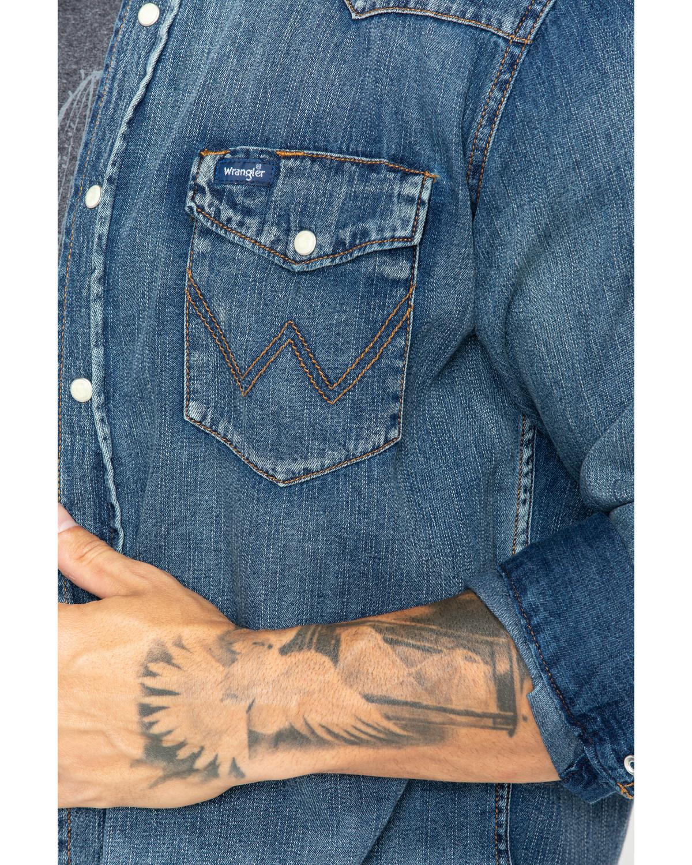 55bc2c189da Wrangler Cowboy Cut Men s Long Sleeve Denim Work Shirt