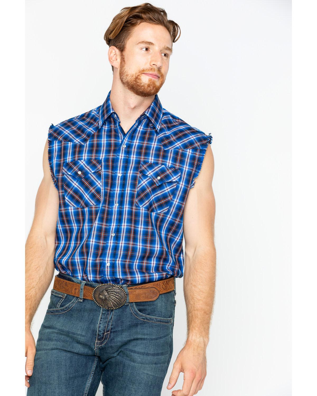 5ffaf1c5c2ff38 Ely Cattleman Men s Blue Sleeveless Plaid Shirt
