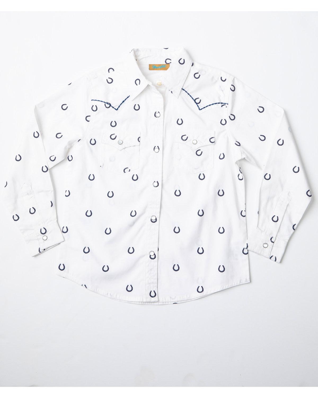 d7909e7b Zoomed Image Wrangler Girls' Horseshoe Print Long Sleeve Western Shirt,  White, ...