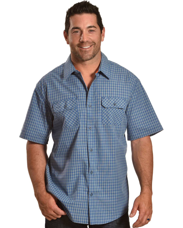 American Worker Men s Biskmark Plaid Short Sleeve Button Down Shirt ... 46d49b5be