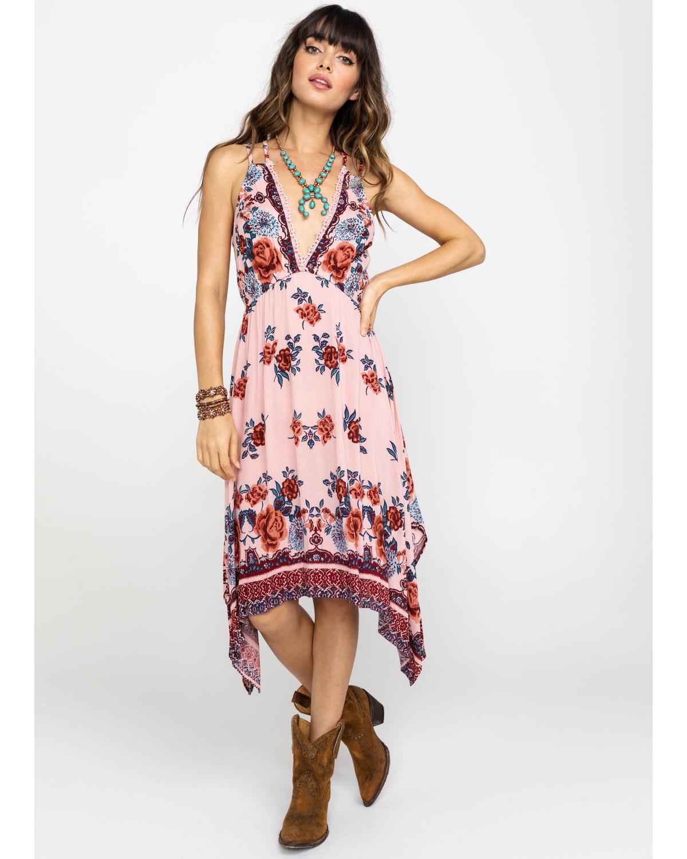 33ae0806b57 Angie Women s Blush Floral Hanky Hem Dress